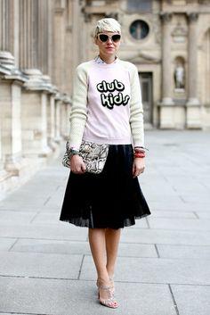 Elisa Nalin gave us street-cool-infused ladylike pieces. (Street Style at Paris Fashion Week Fall 2013)