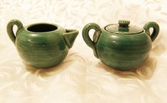 AWAJI Miniature Creamer and Lidded Sugar Green Japanese Pottery