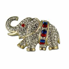 Patriotic Baguette Elephant Pin/Brooch Stars & Stripes Products. $25.00. Baguette cut, red, white and blue crystals. Goldplate. Diamond-like Swarovski crystals