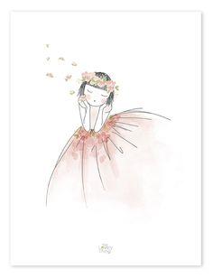 Lilipinso Kinderzimmer-Poster 'Blumenmädchen' schwarz/rosa 30x40cm - im Fantasyroom Shop online bestellen oder im Ladengeschäft in Lörrach kaufen. Besuchen Sie uns!