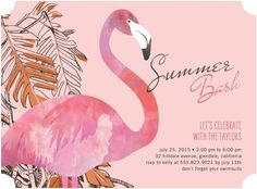 Festive Flamingo - Party Invitations - Stacey Day - Tea Rose - Pink | www.TinyPrints.com