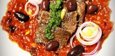 Ox Tongue Recipe With Tomato Sauce And Black Olives. Recipe on Yummly Ox Tongue Recipe, 30 Minute Meals, Tomato Sauce, Meatloaf, Celery, Carrots, Main Dishes, Garlic, Stuffed Peppers