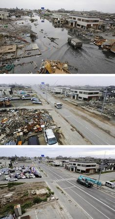 Japan marks 6 months since earthquake, tsunami - Feel Desain Japan Earthquake, Earthquake And Tsunami, Six Month Anniversary, Combo Image, Red Cross Society, Memories Faded, Sea Storm, Ghost Towns, Top Photo
