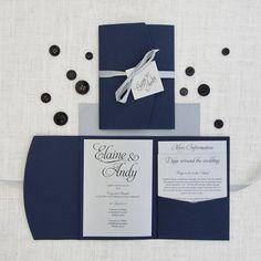 Navy Blue & Silver Pocketfold Wedding Invitation - These navy blue and silver invitations feature a deep navy blue pocketfold and are printed onto metallic silver card.