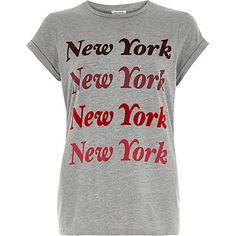 Grey New York print fitted t-shirt - £18 #RiverIsland