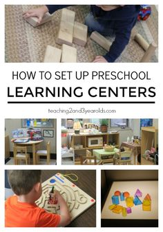 How to set up your preschool learning centers - lots of hands-on activities that encourage exploration in the early childhood classroom. Math, science, dramatic play, light table, fine motor, literacy, art, sensory, blocks … and more! Teaching 2 and 3 Year Olds