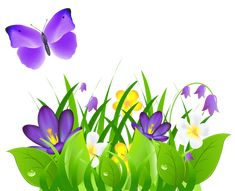 Purple Flowers Grass and Butterfly PNG Clipart Picture