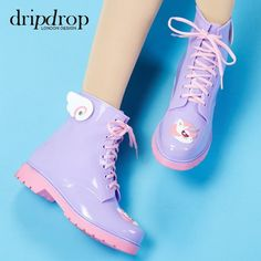 【楽天市場】【dripdrop】ワンポイント付き編み上げレインブーツ ウサギ/ユニコーン/バット [ピンク/パープル/ブルー 全3色]:AL-mart