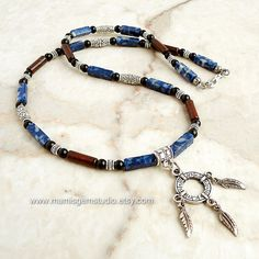 Blue lapis Red Jasper Black Onyx Beaded Mens by mamisgemstudio, $34.95