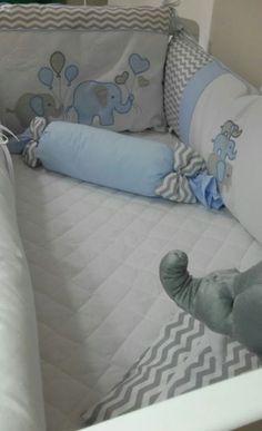 Kit de Berço Bebê Chevron Elefante Azul  08 Peças