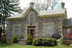 Stone house in the Galt portion of Cambridge, Ontario. Victorian Farmhouse, Victorian Homes, Old Houses, Farm Houses, Stone Houses, Classic House, Farmhouse Design, Architecture Details, Curb Appeal