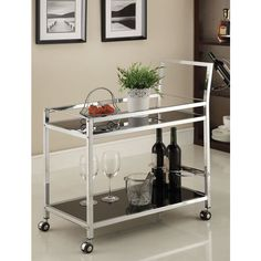 Chrome Metal with Black Tempered Glass Bar/ Tea Serving Cart