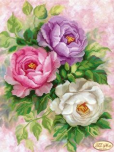 Bead Embroidery Kit Roses Flowers DIY Beadwork kit Beading kit Hand embroidery Beaded Stitching : Roses Beaded Embroidery Kit DIY Beadwork Hand embroidery Beading Embroidery of beads Beads Stitching Wall decor Kit avec perle Cross Stitch Rose, Cross Stitch Flowers, Cross Stitch Kits, Cross Stitch Designs, Cross Stitch Patterns, Beaded Embroidery, Embroidery Stitches, Embroidery Patterns, Hand Embroidery