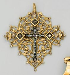 Carved Gold And Ename Pendent