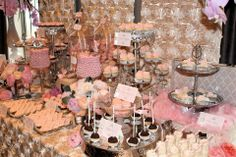 Blush tone wedding dessert buffet by Sweet Soirees of Chicago