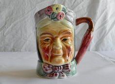 Female Toby Jug Occupied Japan Old Women, Japan, Mugs, Female, Character, Tumblers, Mug, Japanese, Lettering