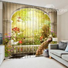 The Peacock and Amzing Scene of the Nature Print 3D Blackout Curtain on sale, Buy Retail Price 3D Scenery Curtains at Beddinginn.com