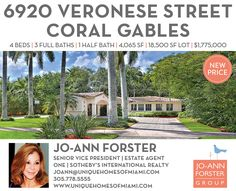 #NEWPRICE 6920 Veronese Street, Coral Gables, Florida   4 BEDS | 3 BATHS | 1 HALF BATH | 4,065 SF | 18,500 SF LOT | $1,775,000  Sought after scenic street. One story home nestled among towering palm trees. Living room and dining room with French doors to a large porch with wood beamed ceiling and BBQ. Kitchen, breakfast room and den, plus family room with wood ceiling and floors. Beautiful master and bath with beamed ceilings. Large backyard with majestic oaks.