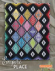 """Empire Place is a contemporary paper-pieced quilt inspired by the amazing Art Deco era. Nine different diamond block designs create this modern quilt pattern. The book includes full-size foundation, step-by-step paper piecing instructions, a coloring page and more! The Empire Place quilt finishes 72"""" x 90"""" and can be run as a block-of-the-month program.  We suggest also purchasing anEmpire Place Foundation Papersandan Add-a-Quarter rulerto make this quilt."""