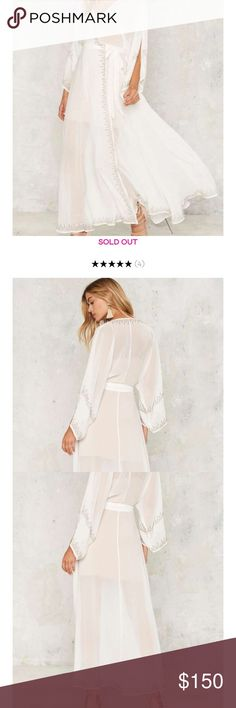 The Jetset Diaries Pearlas Kimono Dress NWT The Jetset Diaries Pearlas Kimono Maxi dress, in a beautiful sheer white with beading detail and a nude underlay tank dress. Retails for $400, sold out online. Price Firm Nasty Gal Dresses Maxi