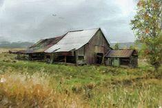 Barn Greeting Card featuring the mixed media Western Barn by Mary Timman Country Mailbox, Country Barns, Country Life, Country Living, Farm Barn, Old Farm, Old Bridges, Ranch Farm, Farm Paintings