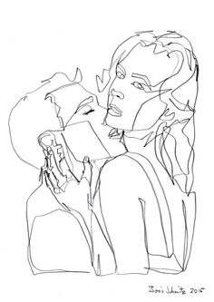 """""""Kiss 47″, one-continuous-line-drawing by Boris Schmitz, 2015 » click here for…"""