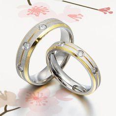 Handmade 18K Gold Matt Diamonds His Wedding Anniversary Engagement Titanium Rings Set Court Shape. £118.98, via Etsy.