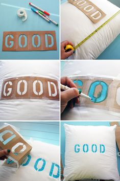 DIY Good Morning pillow Materials: -Two white pillows -Fabric Markers -Letter stencils -Tape -Measuring Tape Washi, Cute Crafts, Diy Crafts, Craft Projects, Sewing Projects, Craft Ideas, Diy Ideas, Party Ideas, Diy Tote Bag
