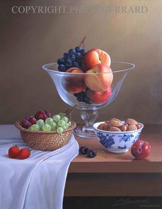 fruit peaches nuts still life painting by philip gerrard