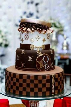 A fun chocolate cake.  A play on the designer purses, without the sculpting.