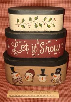 Set of 3 Primitive Christmas Stacking Boxes