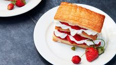 Layers of buttery puff pastry, sweet strawberries, and tangy, vanilla-flecked whipped cream come together in this impressive summer dessert that's greater than the sum of its parts. Great Desserts, Summer Desserts, Delicious Desserts, Dessert Recipes, Dessert Food, Pastry Recipes, Chef Recipes, Strawberry Picking, Strawberry Desserts