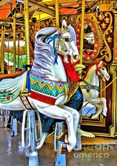 Fine Art Photography Art Prints - Carousel Horse 2 -Photography of horses on a child's carousel ride (merry go round). This carousel is located at the Niabi Zoo in Coal Valley, Illinois. A locally owned and operated zoo, Niabi is one of the favorite places to take small children for a day of fun in the Quad Cities Illinois-Iowa area. Please see my gallery for additional carousel art print pieces.#carousel #artprints