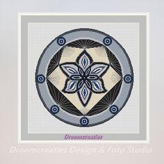X-stitch pattern mandala Spotlight grey - digital crossstitch embroidery pattern pdf - 197 x 197 cross stitches - 36 x 36 cm - 14 x 14 inches  This