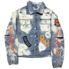 "Rock Hard Vintage ""Biker Club"" Washed Denim Jacket ($250) ❤ liked on Polyvore featuring outerwear, jackets, blue jean jacket, biker style jacket, rock jacket, biker jacket and denim biker jackets"