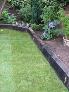 railway sleepers as garden edge