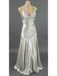 Hollywood glamour silver satin evening gown prom dress wedding dress