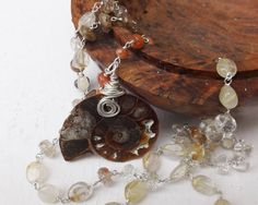 Ammonite necklace, dinosaur necklace, sterling silver, fossil pendant, rutilated quartz necklace, golden rutile necklace, something special by graciedot on Etsy