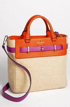 kate spade new york 'bourbon street - fabric skyler' tote. Love the contrast between beachy woven cotton and the structured silhouette of the tote, and fuchsia pops so well against orange. - handbags, carteras, casual, wallet, cute, tote purses *ad