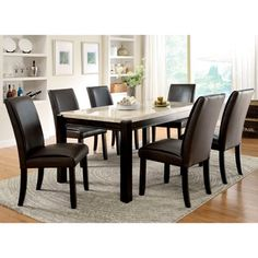 Shop for Furniture of America Joreth 7-piece Dark Walnut Dining Set with Genuine Marble. Get free delivery at Overstock.com - Your Online Furniture Shop! Get 5% in rewards with Club O!