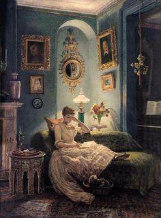 Pintura al óleo Edward John Poynter - dormitorio de la noche agradable joven libro de lectura