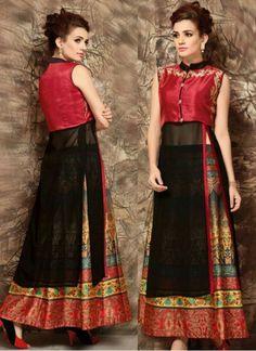 #New Arrival #Red & Black Banglori Georgette #Indo_Western