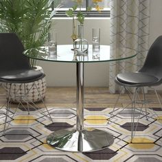 Ebern Designs Jameson Dining Table Size: H x W x D, Top Color: Mahogany Simple Dining Table, Glass Round Dining Table, Solid Wood Dining Table, Extendable Dining Table, Round Glass, Hospital Table, Table Sizes, Table Height, Room Setup