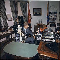 Halloween Visitors to the Oval Office. Caroline Kennedy, President Kennedy, John F. Kennedy, Jr. White House, Oval Office., 10/31/1963