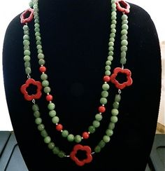 2 in 1  jade  and  red turquoise  necklaces  earrings  set