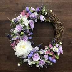 Purple Floral Wreath Floral Wreath For Front Door Spring