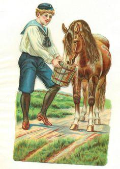 large victorian scrap boy feeding horse