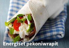 Energiset pekoniwrapit, Resepti: Valio #kauppahalli24 #resepti #pekoni #wrapit #ruoka #valio #arkiruoka #välipala Tacos, Wraps, Mexican, Ethnic Recipes, Food, Essen, Meals, Yemek, Rolls