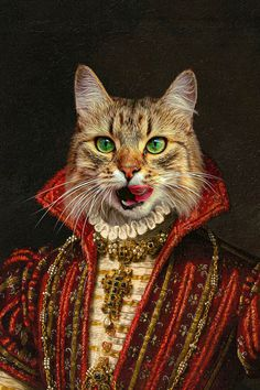 Did you know that you can make your pet the regal leader that he is in true, authentic artwork form? This portrait canvas print is going to absolutely astound any pet owner that wants to put their dog or cat on display for the world to see. Royal Animals, Cat Posters, Cute Cats, Funny Cats, Lowbrow Art, Cat People, Animal Heads, Gifts For Pet Lovers, Cat Drawing