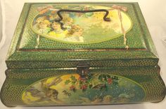 Christmas Casket Dutch biscuit tin c1910 http://huxtins.com/2010/09/christmas-casket-dutch-biscuit-tin-c1910-%E2%80%9children-cherubs-and-angels/